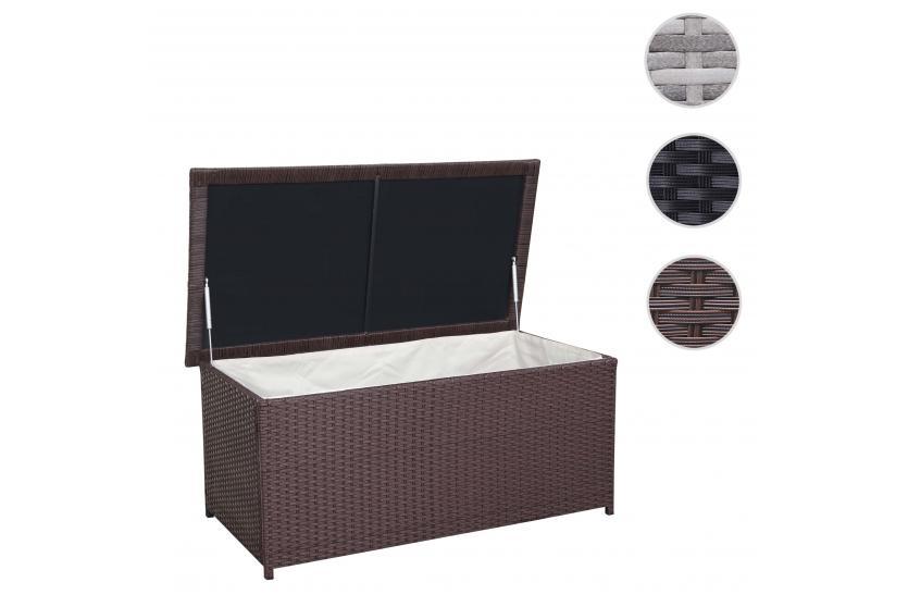 poly rattan kissenbox hwc d43 truhe auflagenbox gartentruhe 51x100x50cm 160l braun. Black Bedroom Furniture Sets. Home Design Ideas