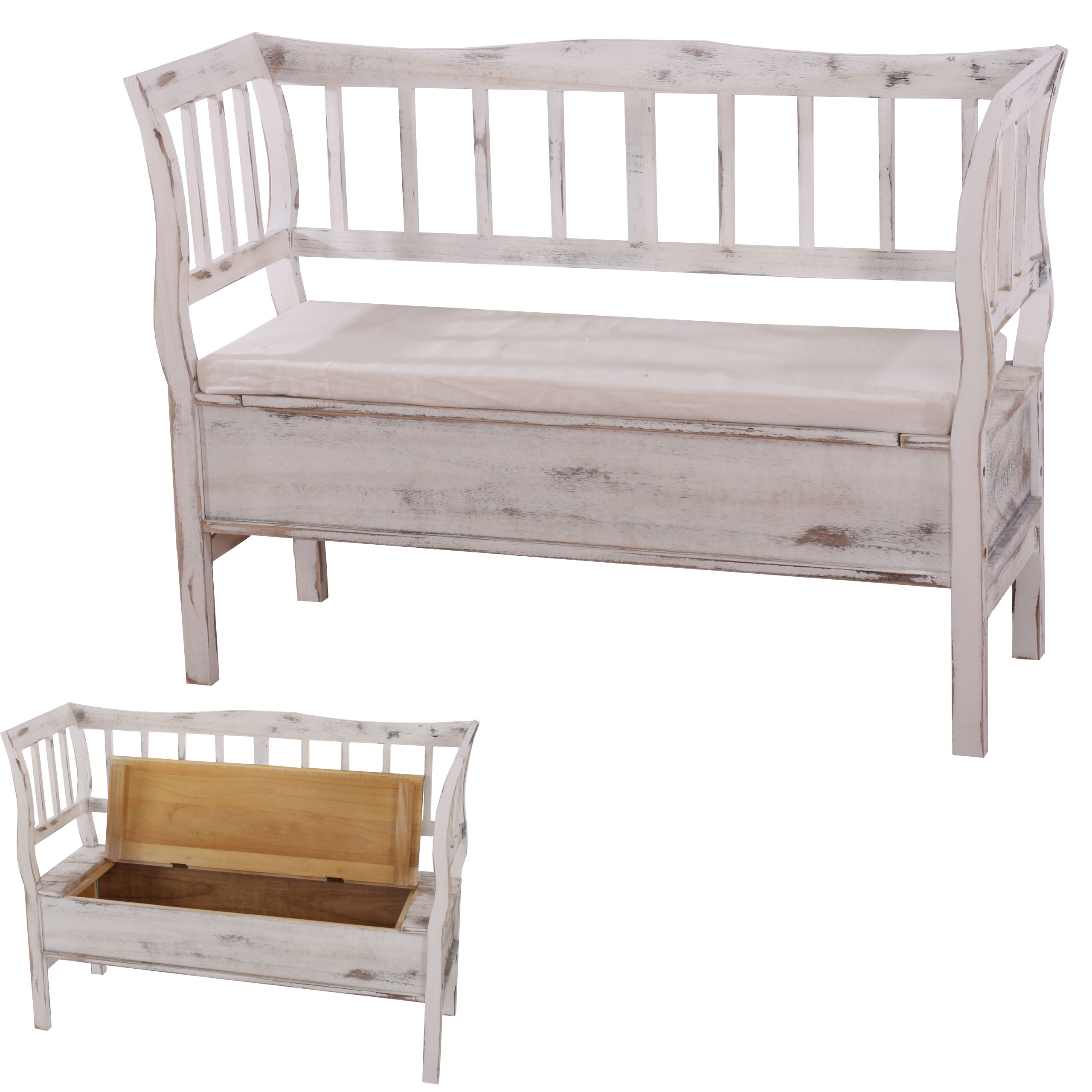 schuhregal sitzbank 45x65x34cm shabby look shabby chic. Black Bedroom Furniture Sets. Home Design Ideas