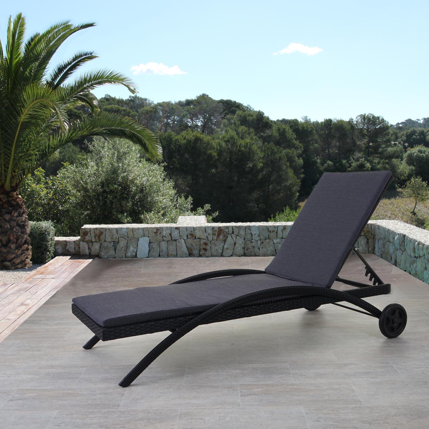 sonnenliege kastoria relaxliege gartenliege poly rattan rundes rattan ebay. Black Bedroom Furniture Sets. Home Design Ideas
