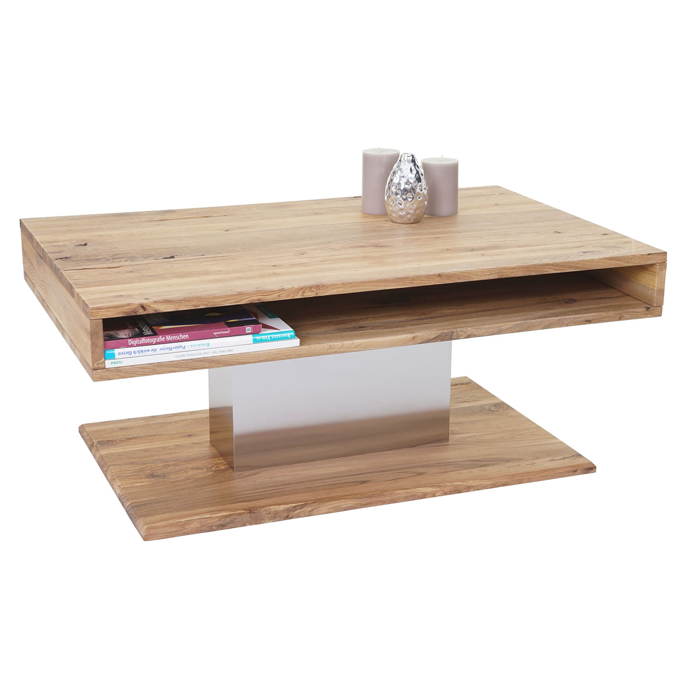 mca couchtisch hl design mattia wohnzimmertisch risseiche rustikal massiv 40x95x60cm. Black Bedroom Furniture Sets. Home Design Ideas