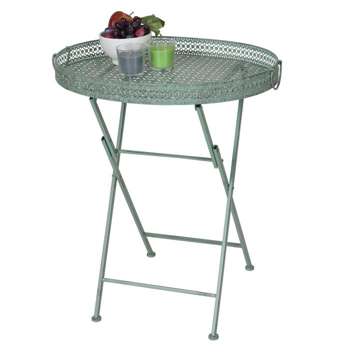 Gartentisch klappbar  Klapptisch HWC-C39, Gartentisch, klappbar Metall antik-grün