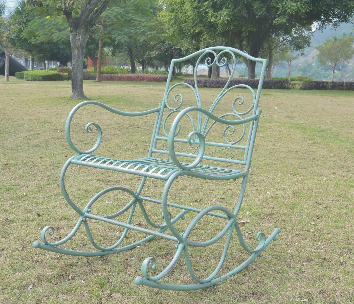 Sedia a dondolo hwc c39 stile romantico metallo verde for Sedia a dondolo verde