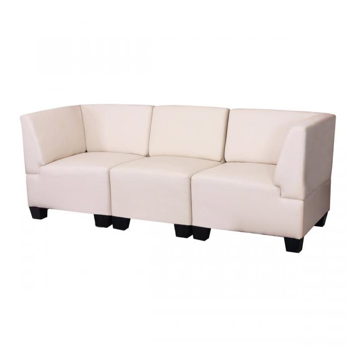 modular 3 sitzer sofa couch lyon kunstleder creme hohe. Black Bedroom Furniture Sets. Home Design Ideas