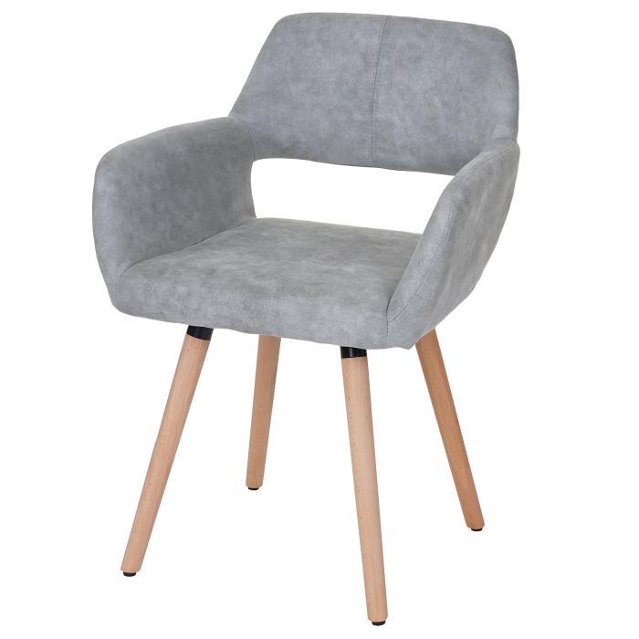 esszimmerstuhl hwc a50 ii stuhl lehnstuhl retro 50er jahre design textil vintage betongrau. Black Bedroom Furniture Sets. Home Design Ideas