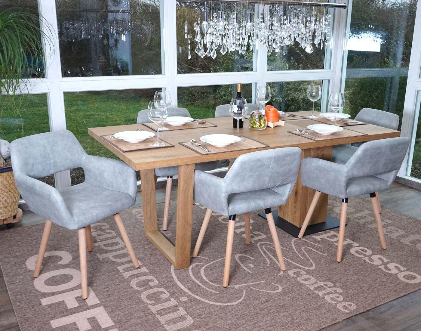 Set 6x sedie sala da pranzo hwc a50 ii design retro legno - Sedie pranzo design ...