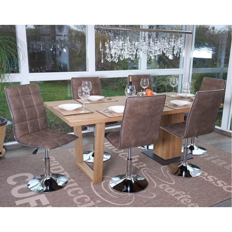 6x esszimmerstuhl mcw c41 h henverstellbar drehbar textil vintage braun ebay. Black Bedroom Furniture Sets. Home Design Ideas