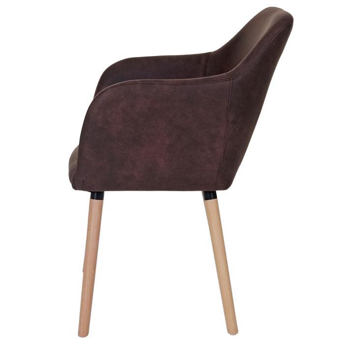 Esszimmerstuhl Malmö T381, Stuhl Küchenstuhl, Retro 50er Jahre Design ~ Textil, vintage dunkelbraun, helle Beine