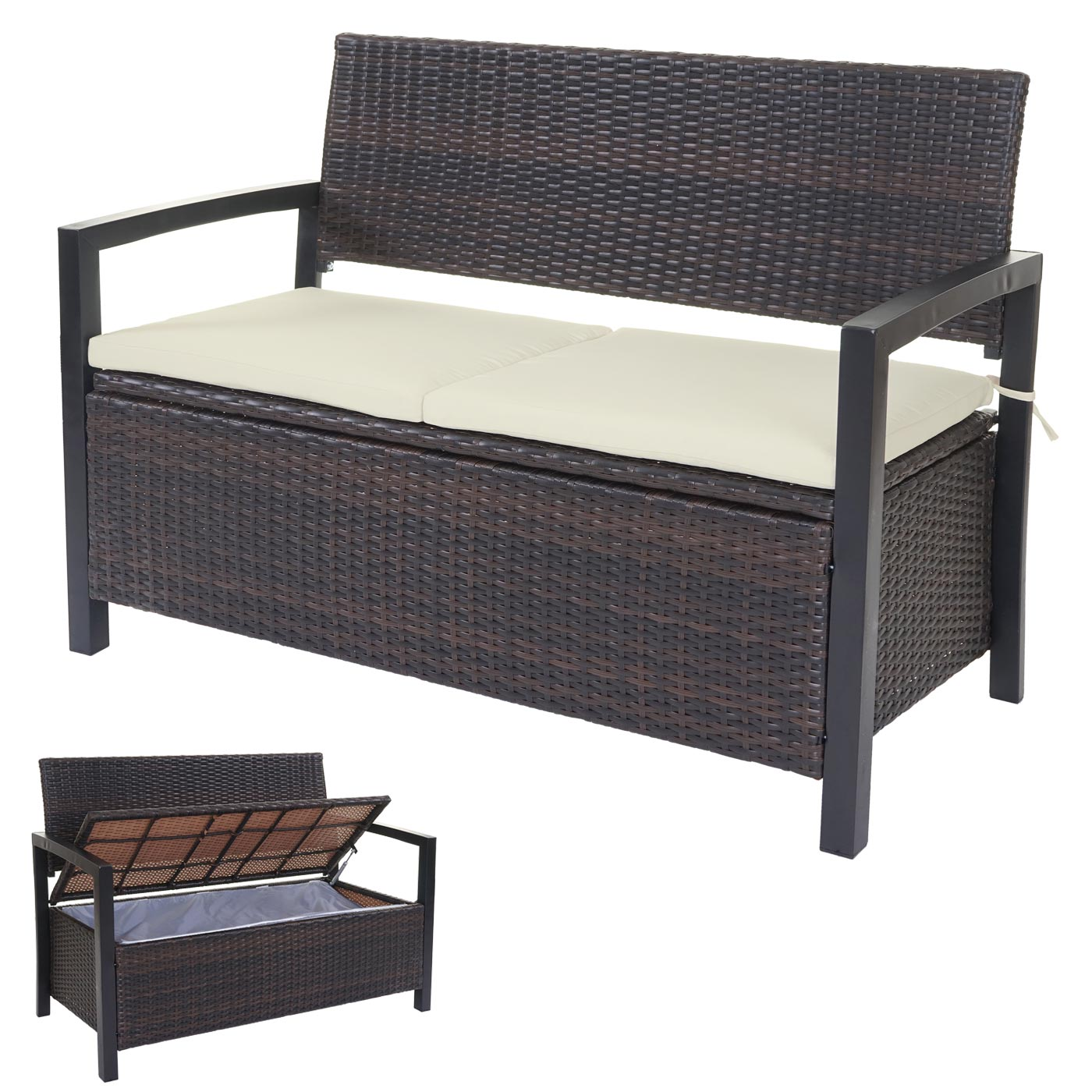 poly rattan gartenbank hwc a12 truhenbank bank staufach sitzkissen ebay. Black Bedroom Furniture Sets. Home Design Ideas