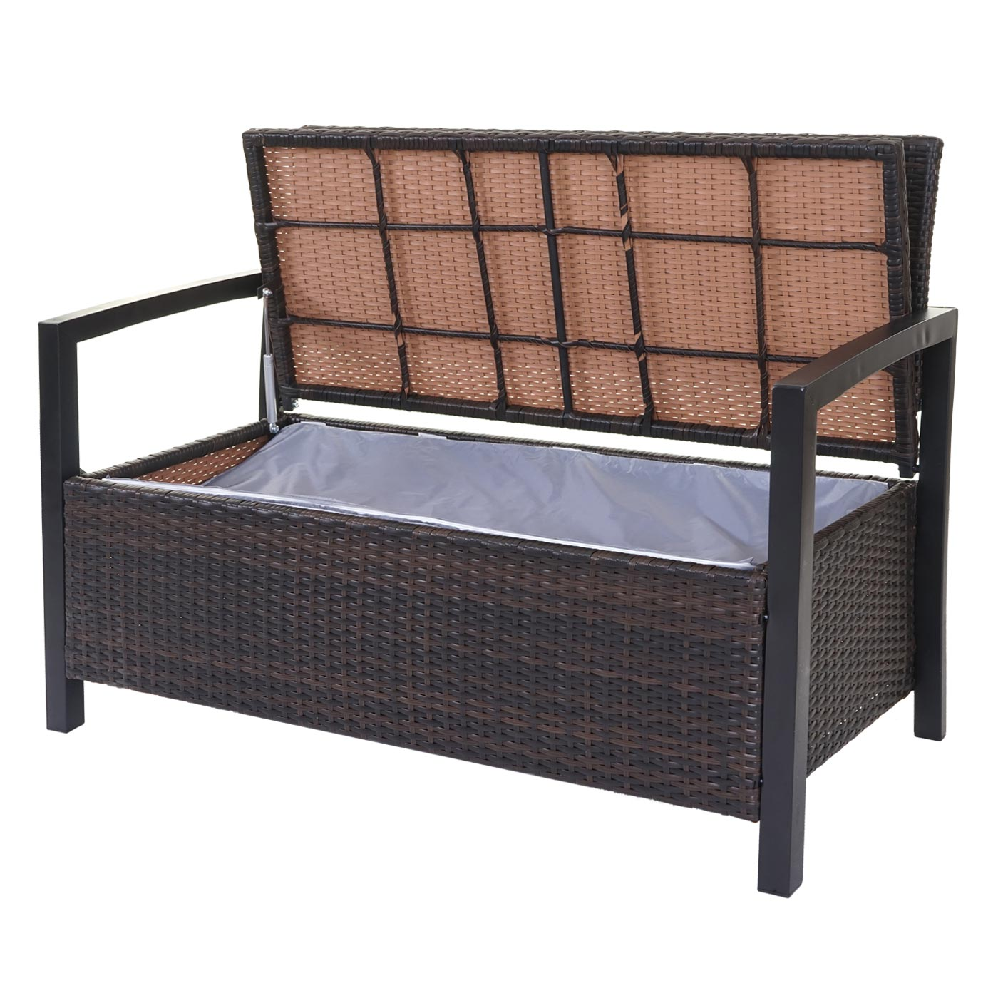 poly rattan gartenbank hwc a12 truhenbank bank staufach sitzkissen braun kissen creme. Black Bedroom Furniture Sets. Home Design Ideas