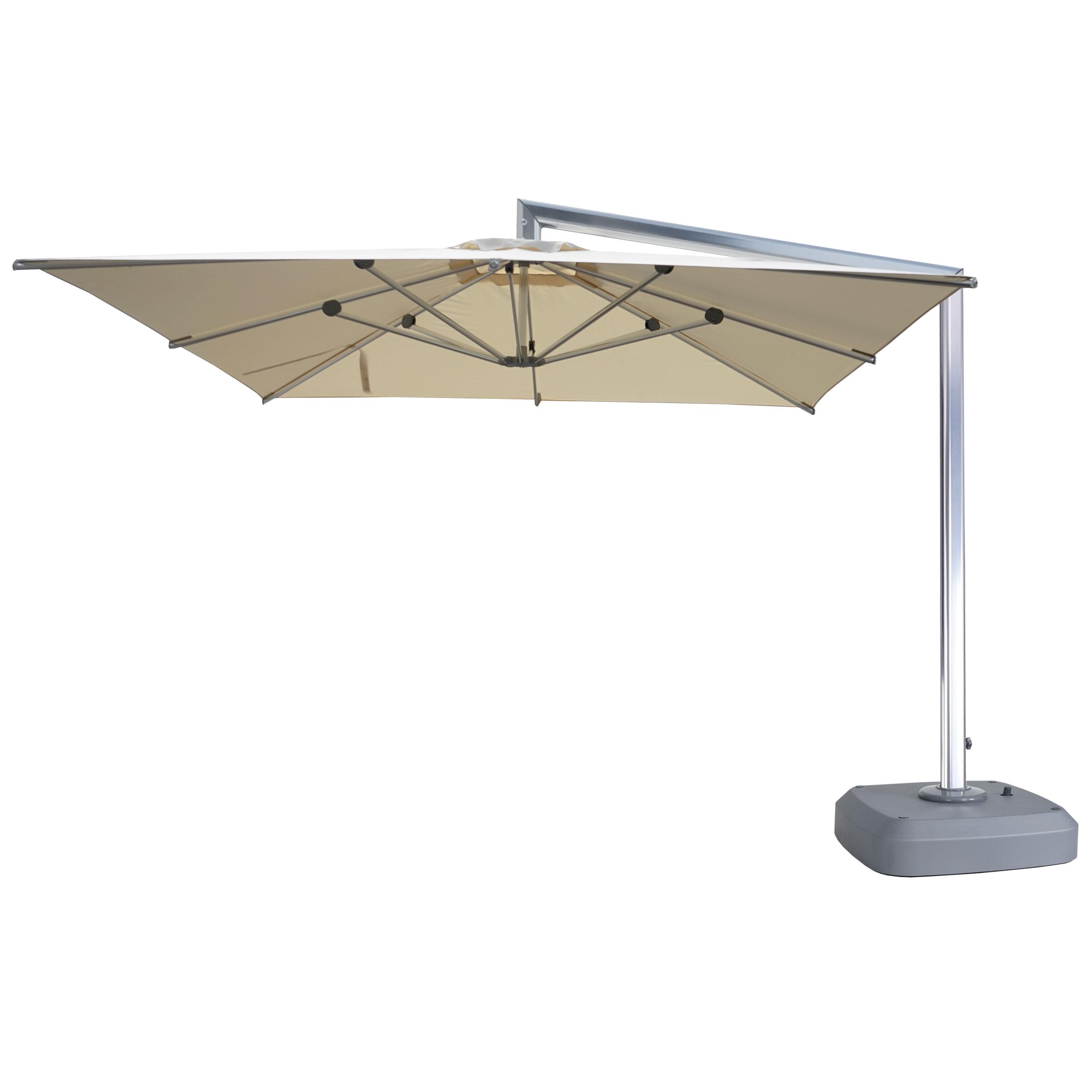 Mendler Luxus-Ampelschirm HWC-A36, Gartenschirm Sonnenschirm mit Ständer, drehbar 3x3m (Ř4,24m) Polyester/Al 59342+59343