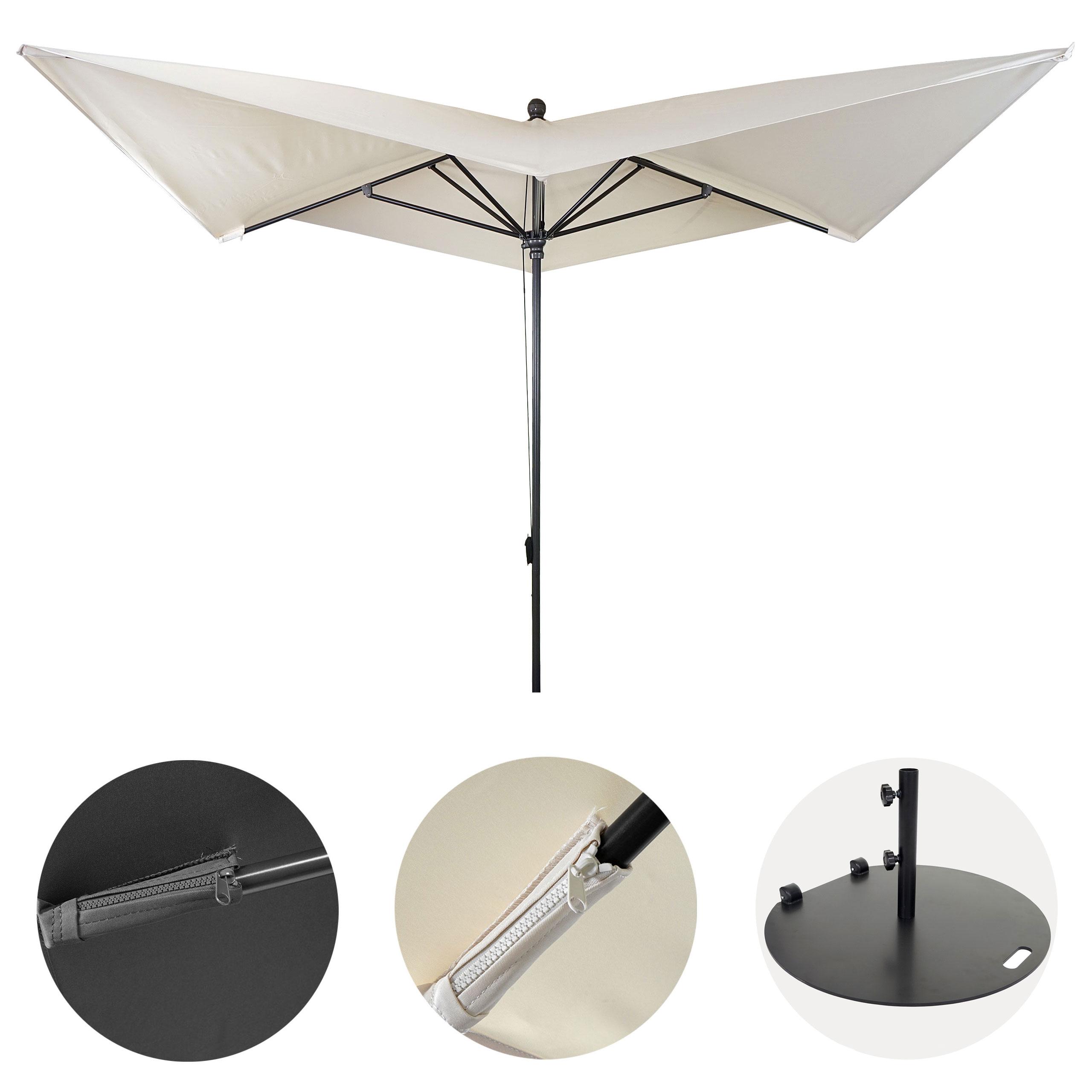 Mendler Luxus-Sonnenschirm HWC-A37, Marktschirm Gartenschirm, 3x3m (Ř4,24m) Polyester/Alu 10kg ~ Variantenan 59344