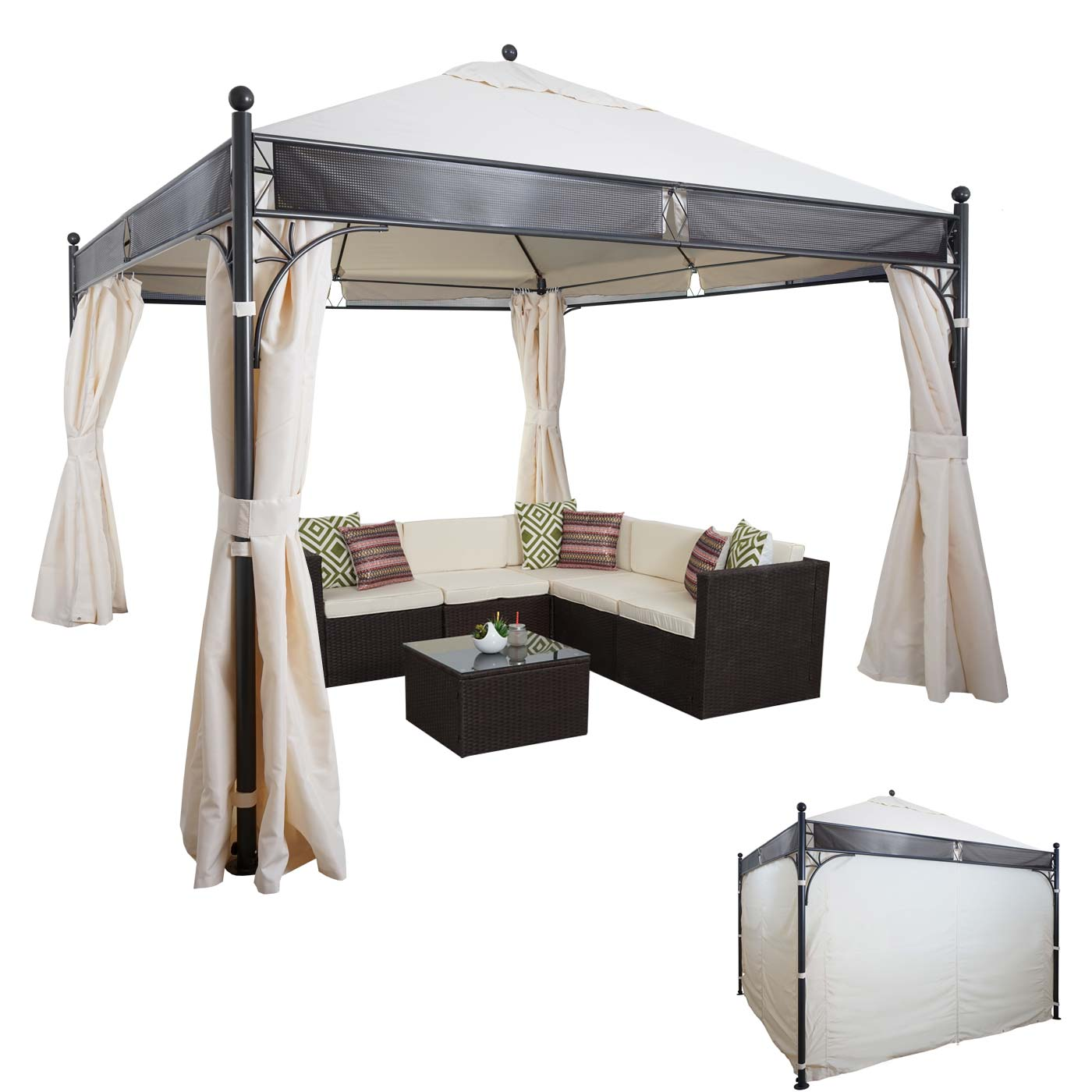 pergola hwc a38 garten pavillon 6cm stahl gestell mit seitenwand 3 5x3 5cm creme. Black Bedroom Furniture Sets. Home Design Ideas