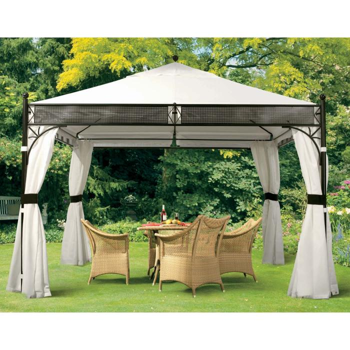pergola hwc a38 garten pavillon 6cm stahl gestell mit seitenwand 3 5x3 5cm anthrazit. Black Bedroom Furniture Sets. Home Design Ideas