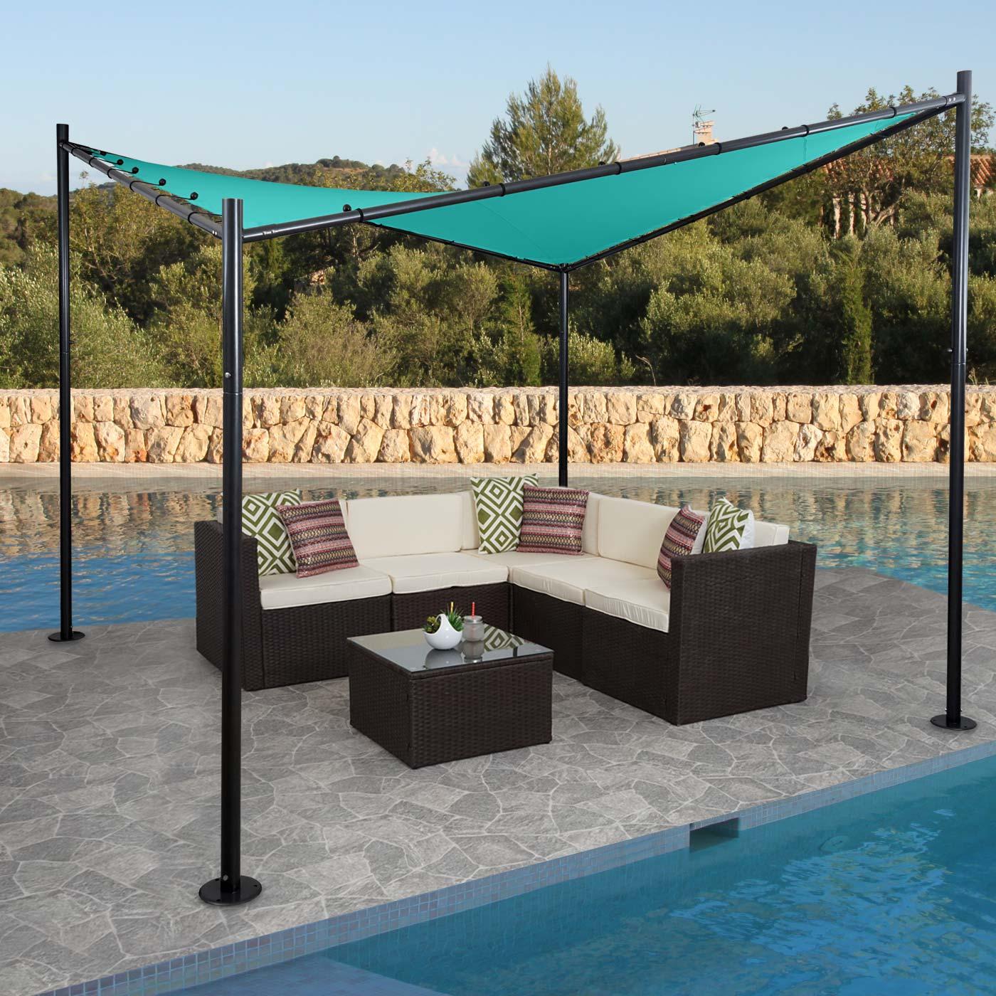 pergola hwc a41 garten pavillon sonnensegel stabiles stahl gestell 3x3m t rkis. Black Bedroom Furniture Sets. Home Design Ideas
