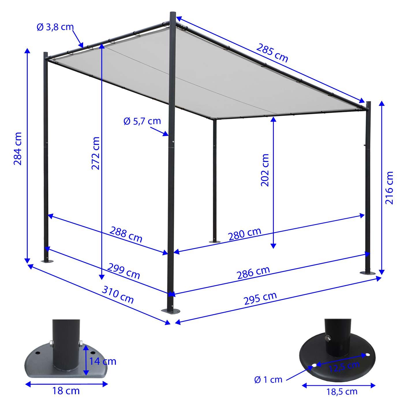Pergola HWC-A22 Bemaßungsbild