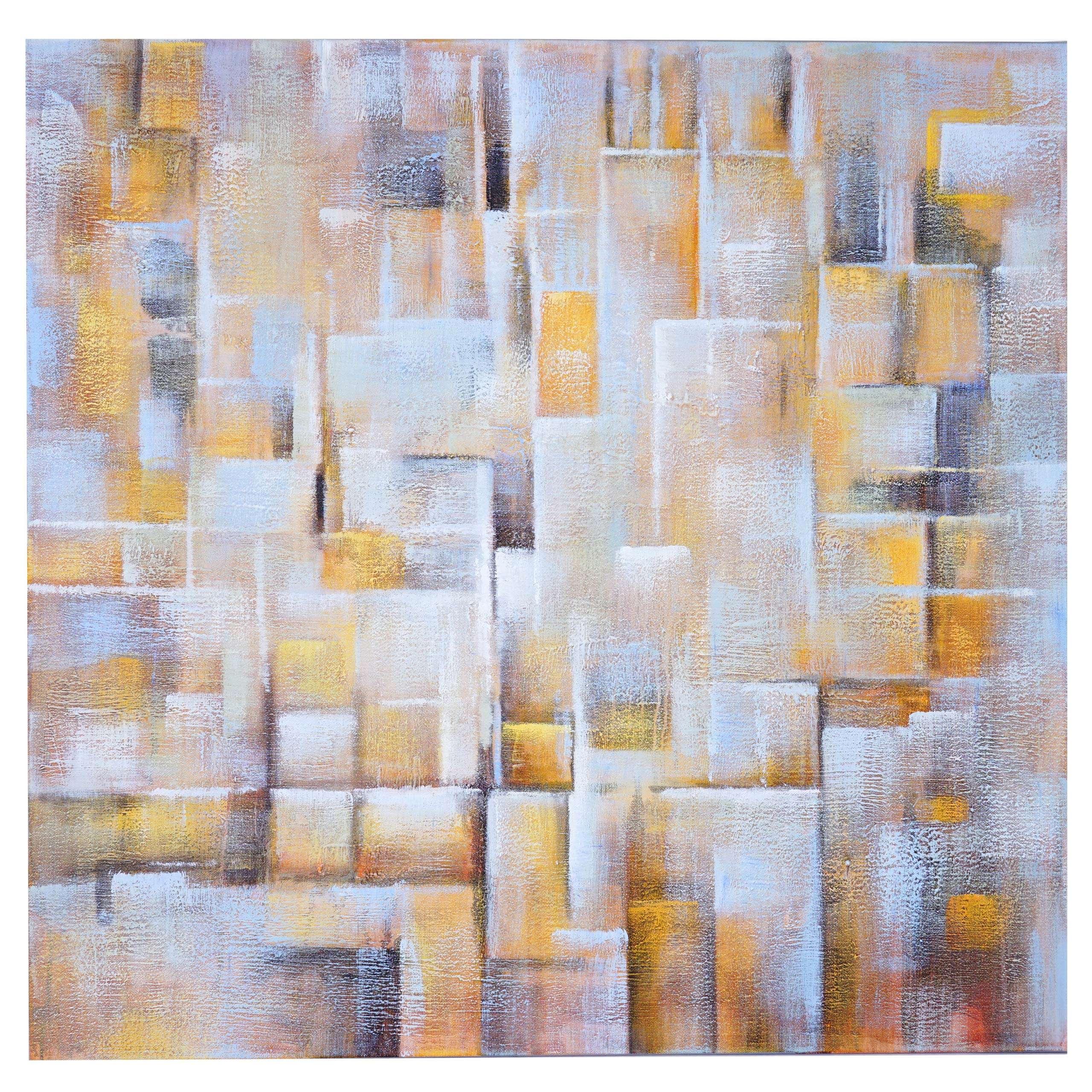 Mendler Ölgemälde Cubes, 100% handgemaltes Wandbild Gemälde XL, 100x100cm ~ Variantenangebot 59446