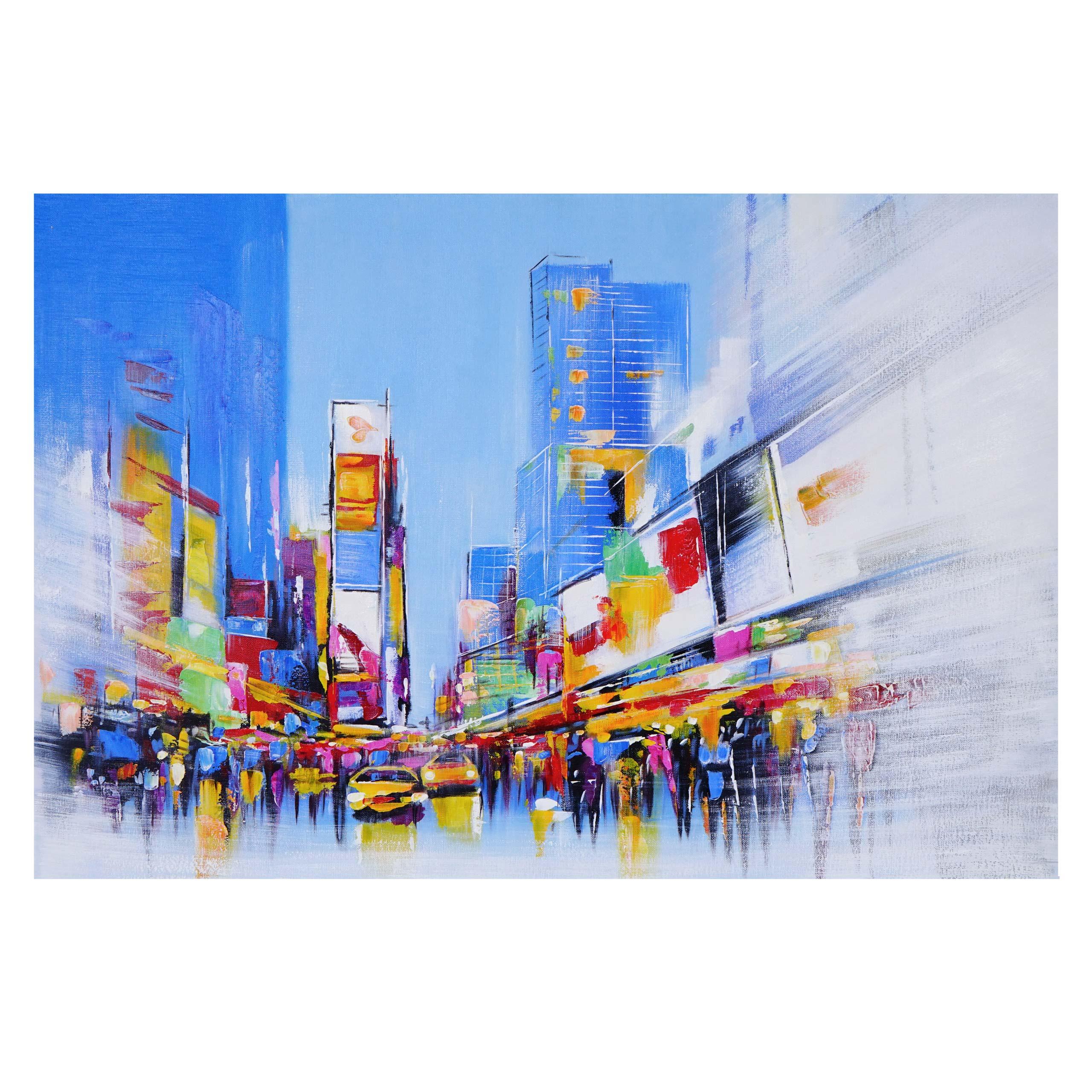 Mendler Ölgemälde Times Square, 100% handgemaltes Wandbild Gemälde XL, 120x80cm ~ Variantenangebot 59447