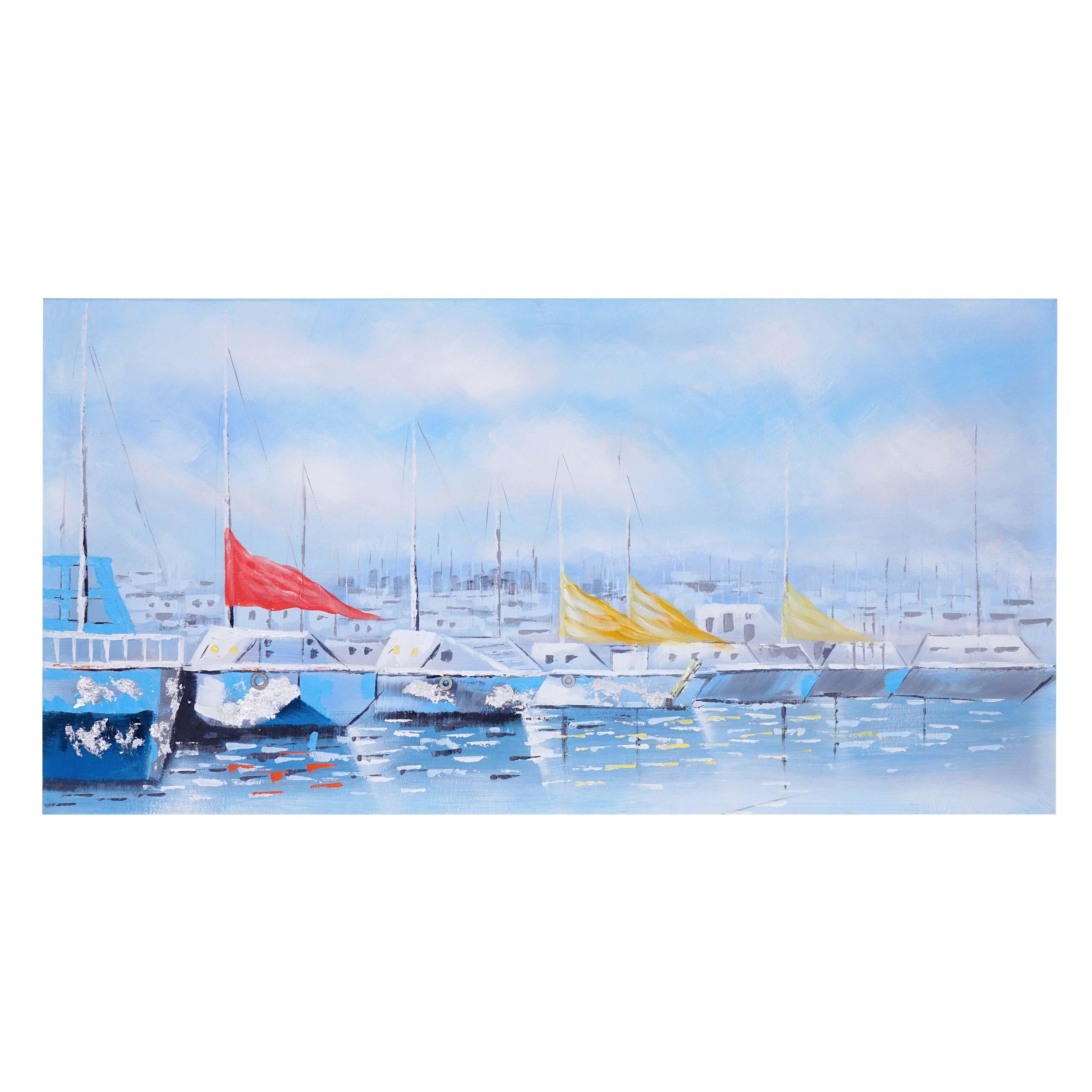 Mendler Ölgemälde Boote, 100% handgemaltes Wandbild Gemälde XL, 140x70cm ~ Variantenangebot 59449