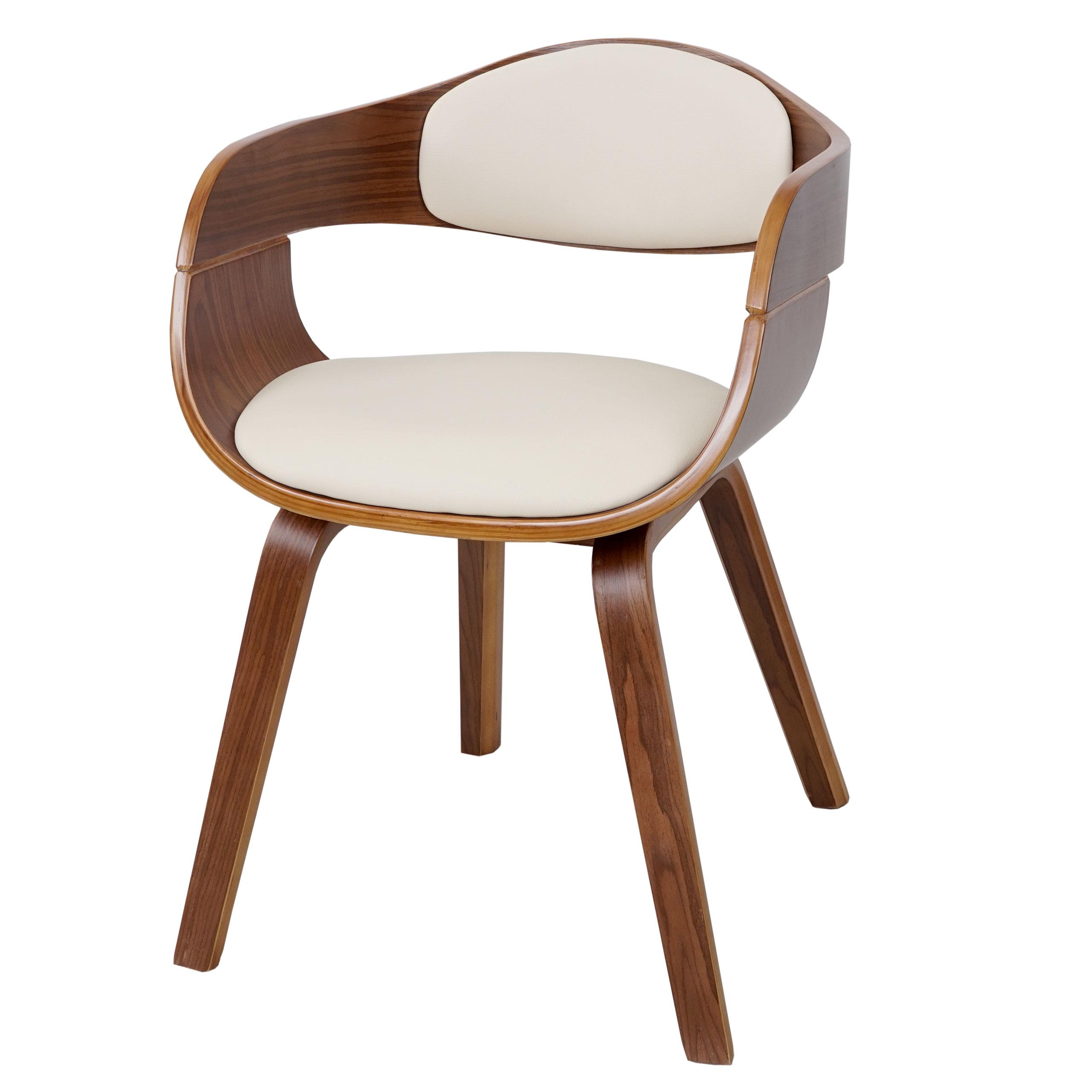 Sedia hwc a47 design elegante legno faggio ecopelle avorio for Sedia design legno