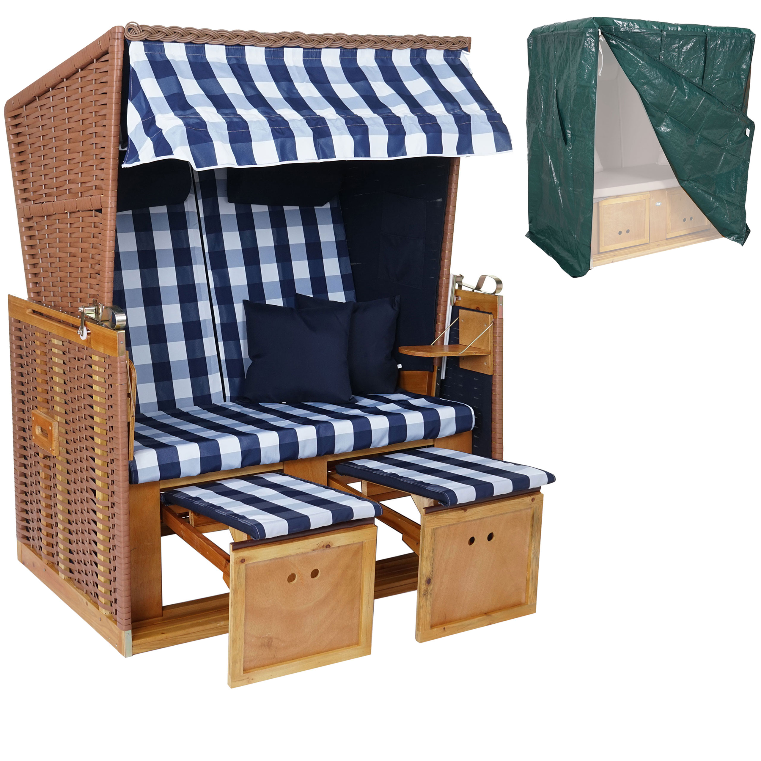 poly rattan strandkorb hwc a11 volllieger ostsee nordsee inkl abdeckung blau wei. Black Bedroom Furniture Sets. Home Design Ideas