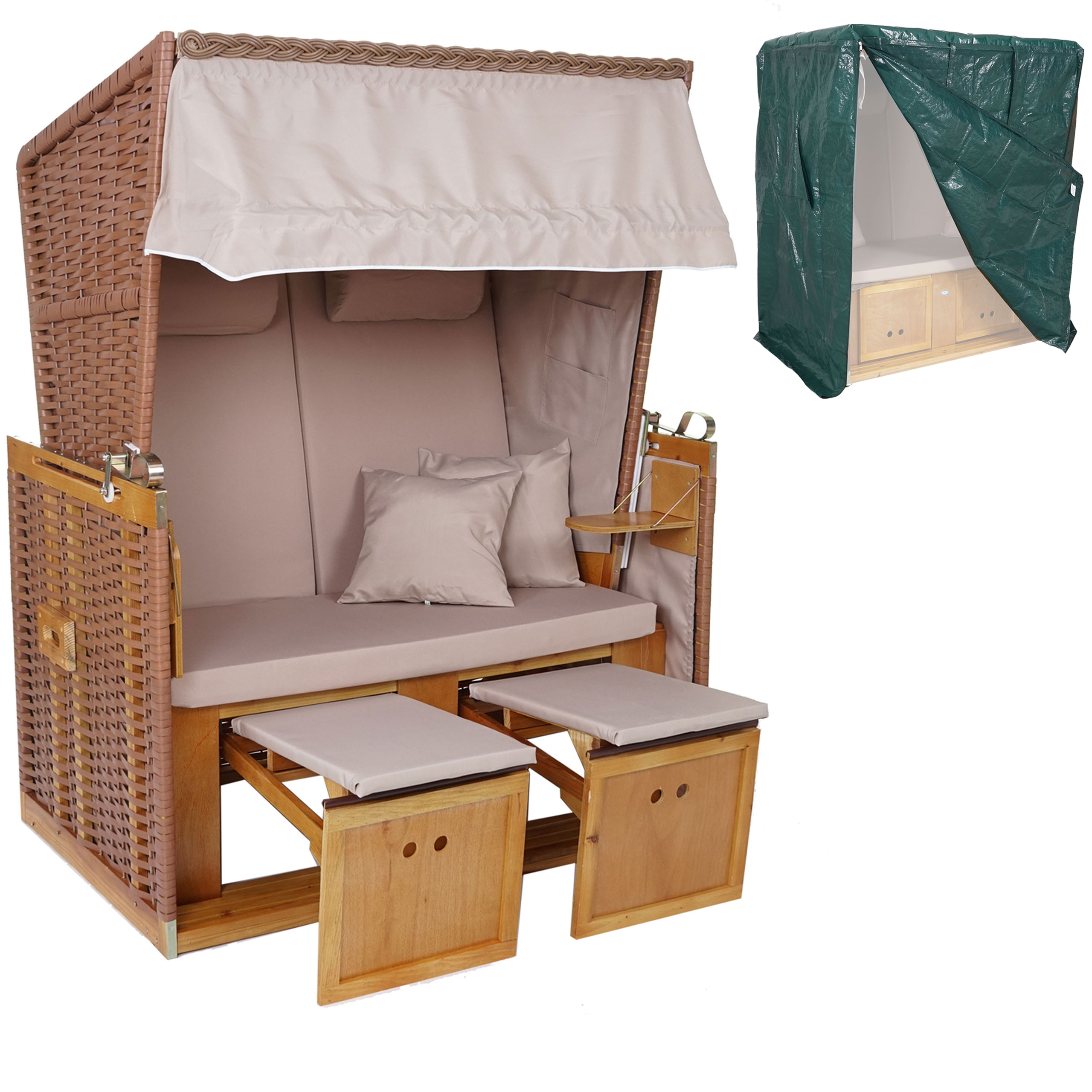poly rattan strandkorb hwc a11 volllieger ostsee nordsee inkl abdeckung beige. Black Bedroom Furniture Sets. Home Design Ideas