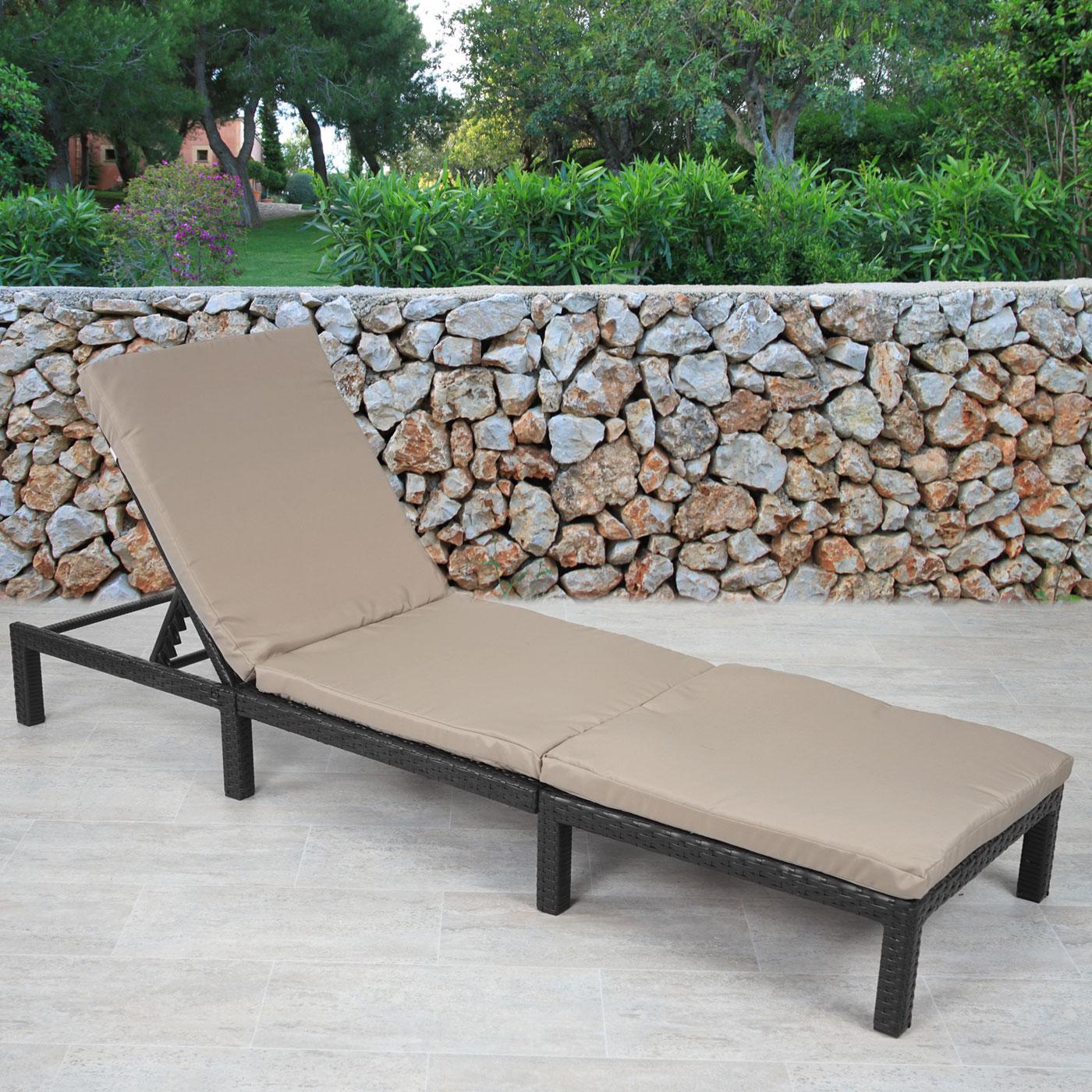 Poly-Rattan Sonnenliege MCW-A51, Relaxliege Gartenliege Liege ~ Basic anthrazit, Kissen creme