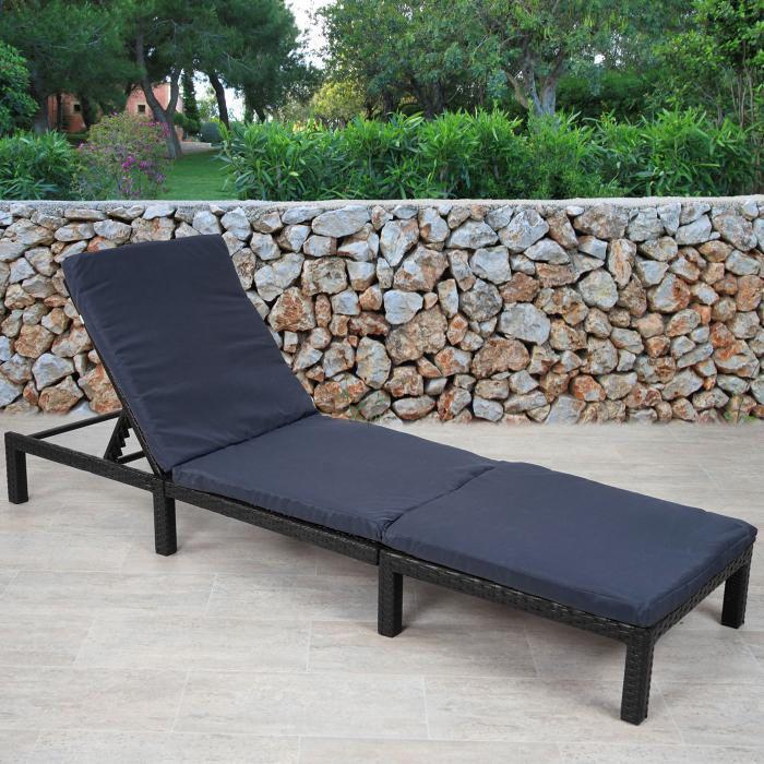 poly rattan sonnenliege hwc a51 relaxliege gartenliege liege basic anthrazit kissen grau. Black Bedroom Furniture Sets. Home Design Ideas