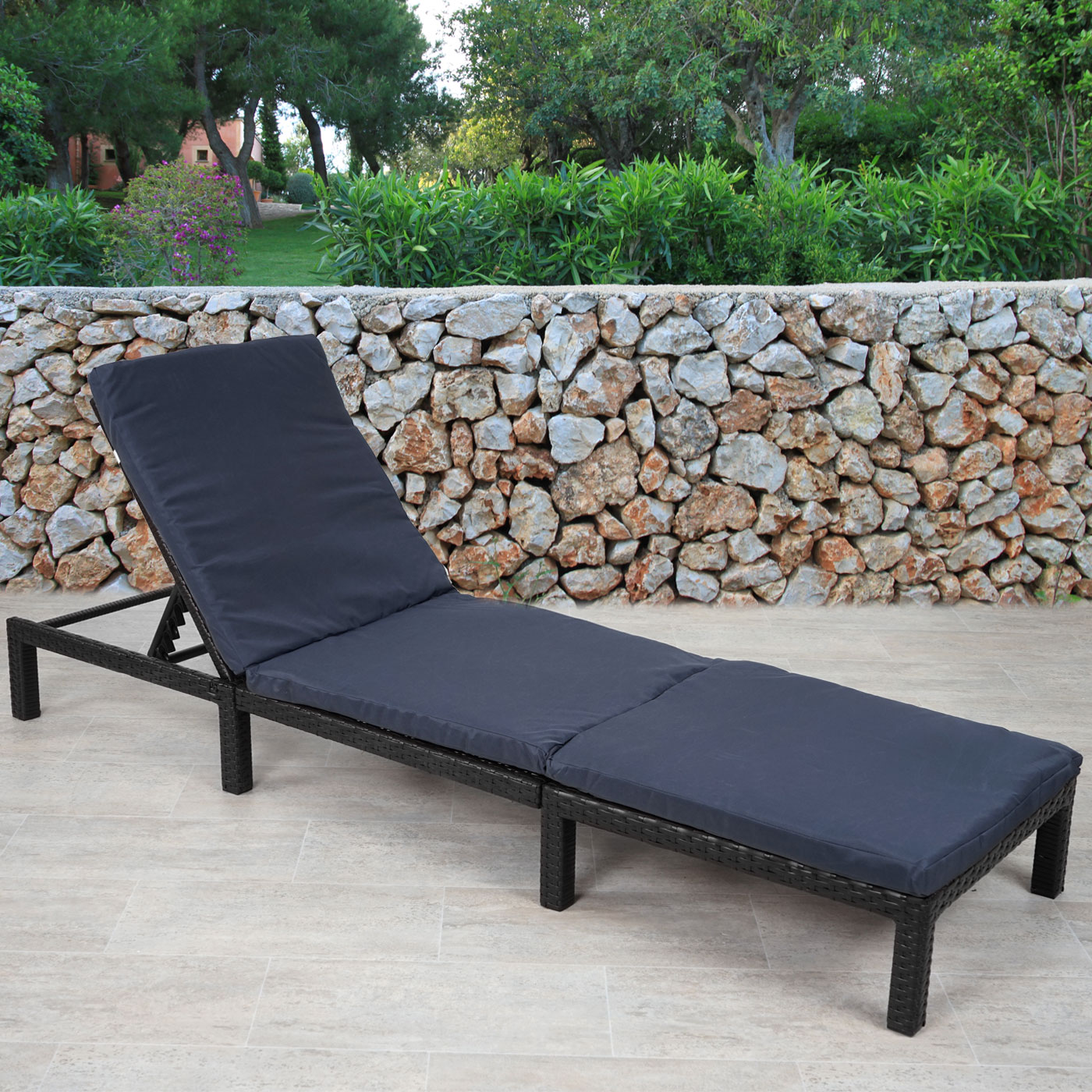 poly rattan sonnenliege hwc a51 relaxliege gartenliege liege premium basic ebay. Black Bedroom Furniture Sets. Home Design Ideas