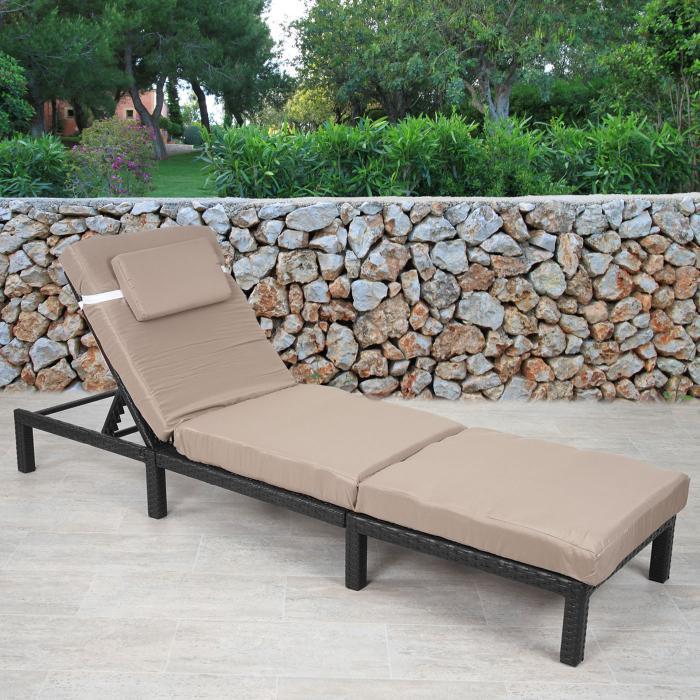 poly rattan sonnenliege hwc a51 relaxliege gartenliege liege premium anthrazit kissen creme. Black Bedroom Furniture Sets. Home Design Ideas