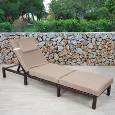 Poly Rattan Sonnenliege HWC A51, Relaxliege Gartenliege Liege ~ Premium  Braun, Kissen