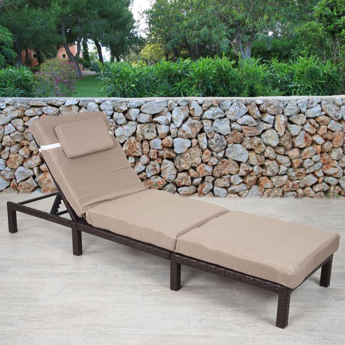 Poly Rattan Sonnenliege HWC A51 Relaxliege Gartenliege Liege Premium Braun Kissen Creme