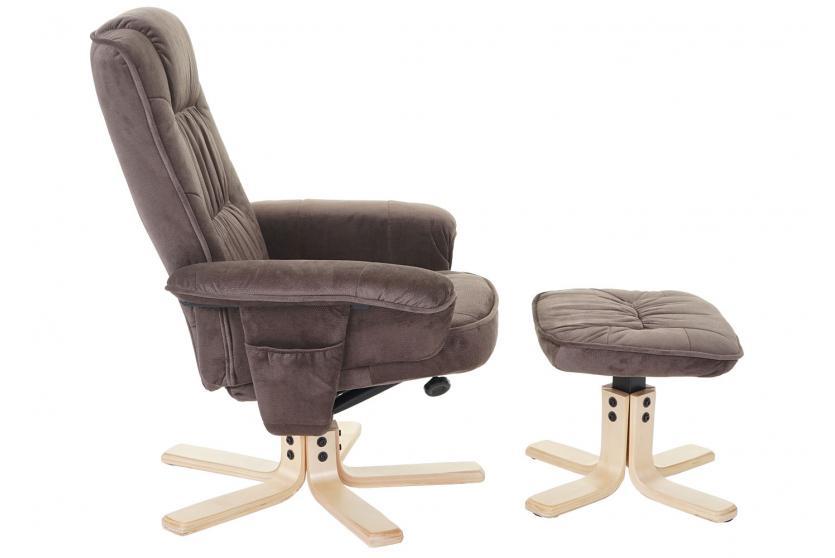 relaxsessel m56 fernsehsessel tv sessel mit hocker textil wildlederimitat. Black Bedroom Furniture Sets. Home Design Ideas