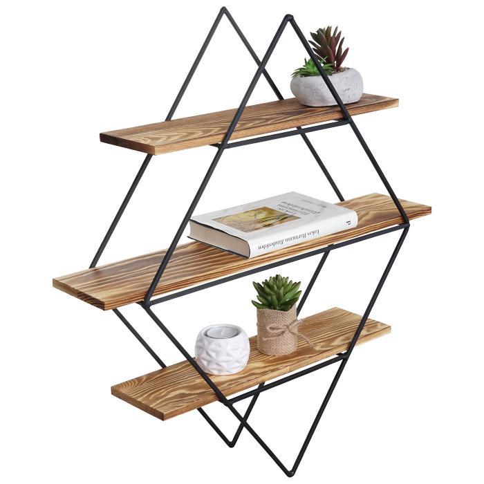 wandregal hwc a80 h ngeregal regal industriedesign echtholz 60x55x12cm. Black Bedroom Furniture Sets. Home Design Ideas