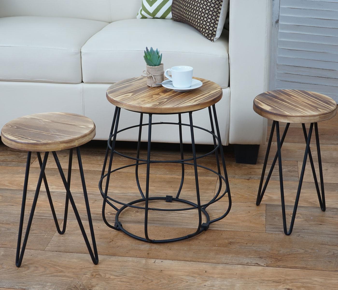 2x sitzhocker mit tisch hwc a80 sitzgruppe for Tisch industriedesign
