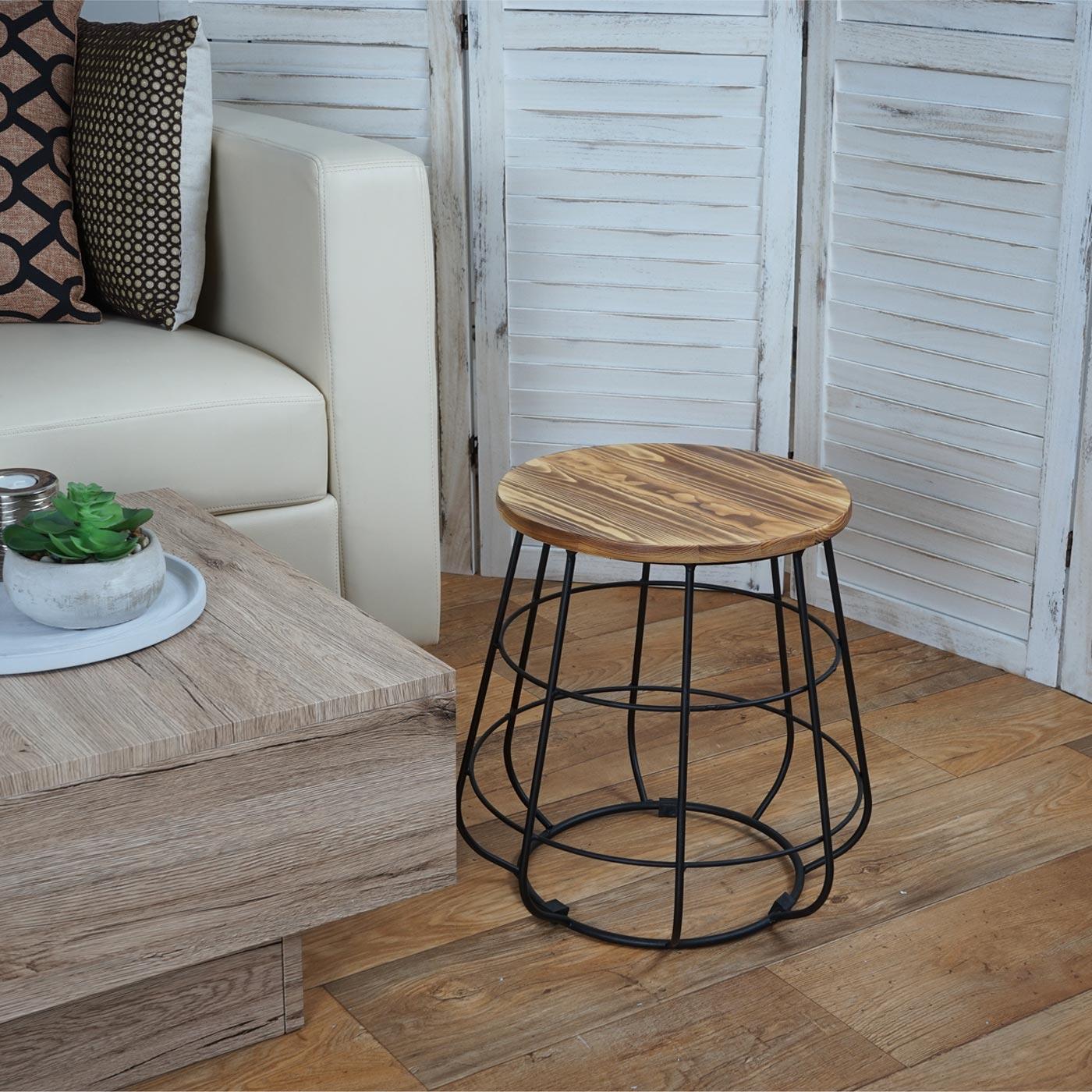 Sitzhocker mit Stauraum MCW-A80, Hocker Aufbewahrung, Industriedesign Echtholz Ø35cm