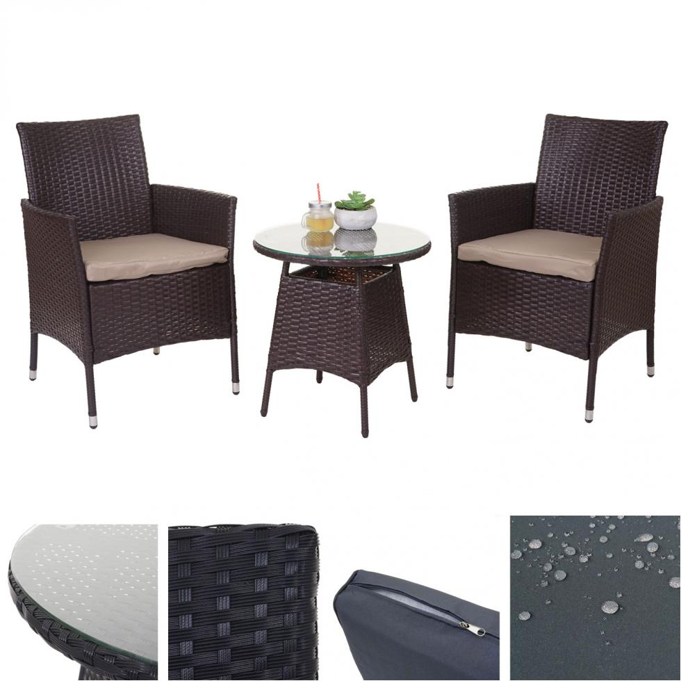 Poly-Rattan-Garnitur HWC-A82, Balkon-Set Gartenmöbel Sitzgarnitur | eBay