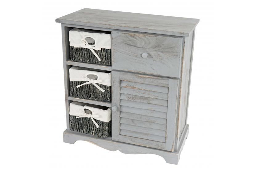 kommode schrank mit 3 k rben 63x60x30cm shabby look vintage grau. Black Bedroom Furniture Sets. Home Design Ideas