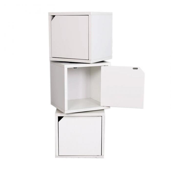 3x modul w rfelregal standregal m73 100 cm 3x t r drehbar wei. Black Bedroom Furniture Sets. Home Design Ideas