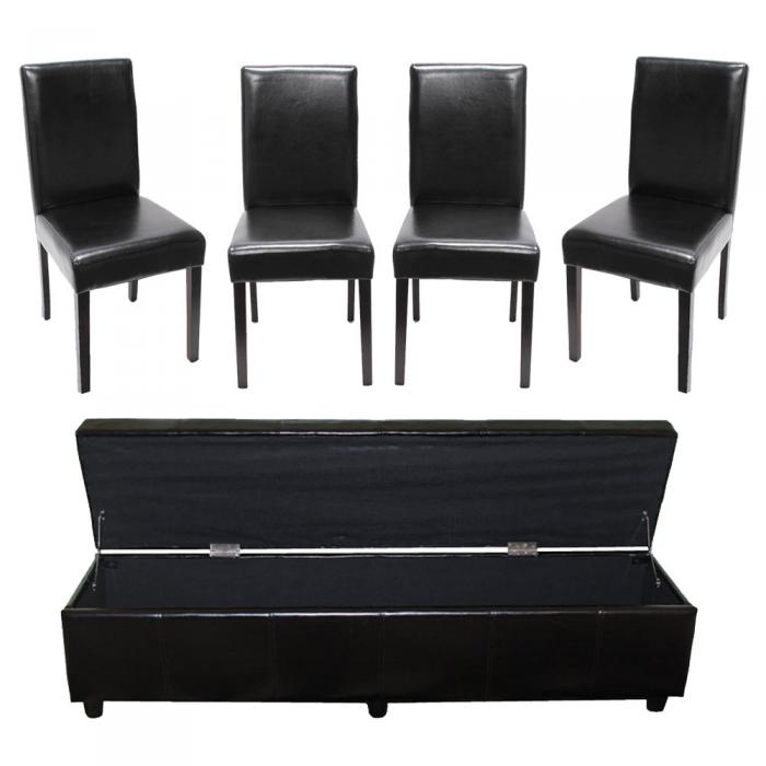 garnitur sitzgruppe bank mit aufbewahrung kriens xxl 4 st hle littau leder schwarz. Black Bedroom Furniture Sets. Home Design Ideas
