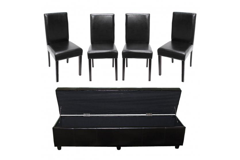 garnitur sitzgruppe bank mit aufbewahrung kriens xxl 4 st hle littau kunstleder leder schwarz. Black Bedroom Furniture Sets. Home Design Ideas