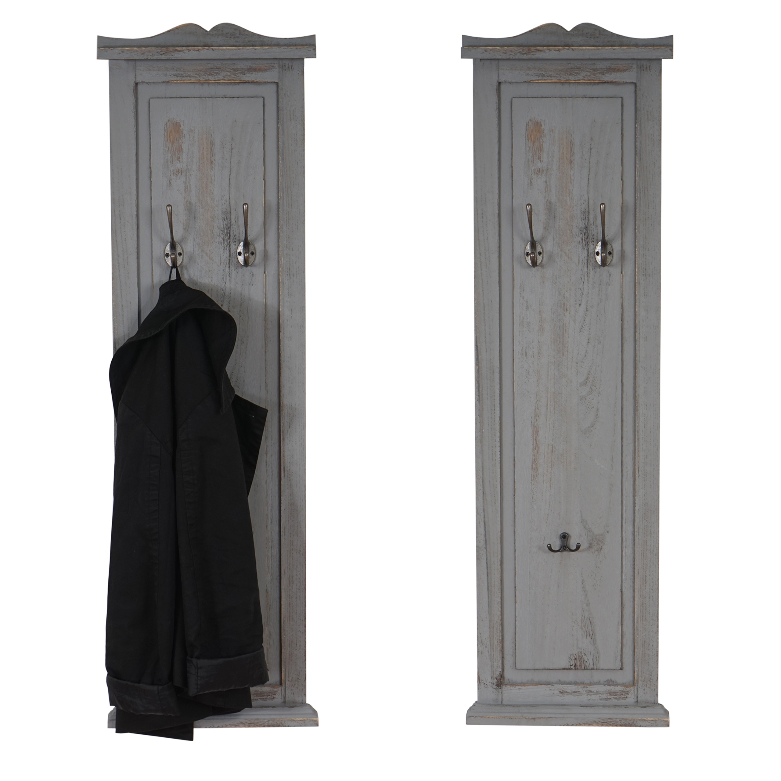 2x garderobe wandgarderobe garderobenpaneel wandhaken 109x28x4cm grau shabby. Black Bedroom Furniture Sets. Home Design Ideas