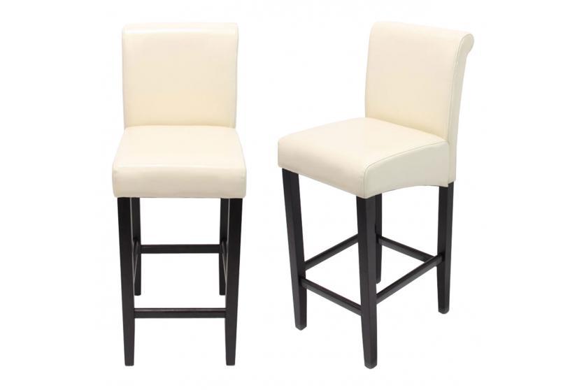 2x barhocker barstuhl hwc c33 creme dunkle beine leder. Black Bedroom Furniture Sets. Home Design Ideas