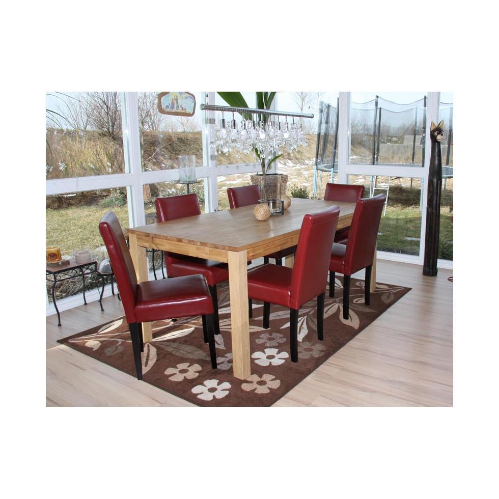 6x esszimmerstuhl littau lehnstuhl stuhl leder rot. Black Bedroom Furniture Sets. Home Design Ideas