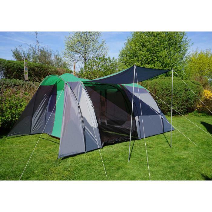 Campingzelt HWC A99, 6 Mann Zelt Kuppelzelt Festival Zelt, 6 Personen ~ grüngrau