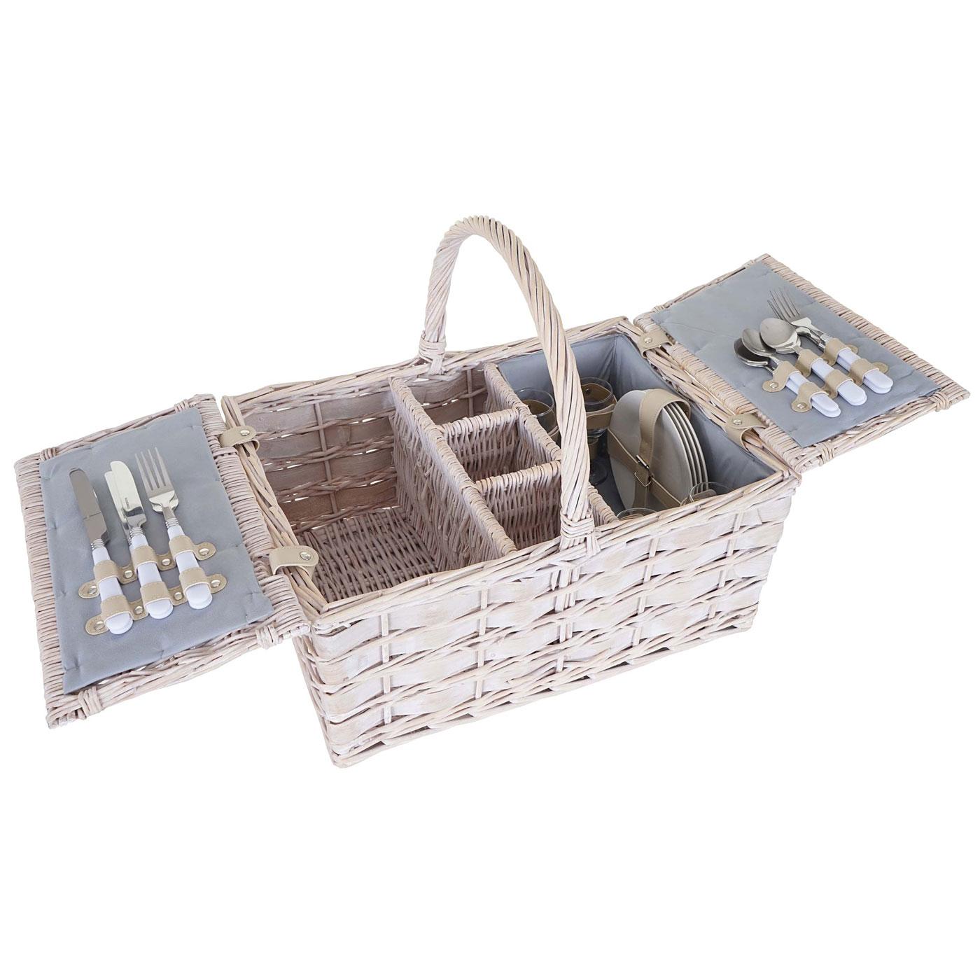 Mendler Picknickkorb-Set HWC-B12 für 4 Personen, Weiden-Korb, Porzellan Glas Edelstahl, grau ~ Variantenange 60058