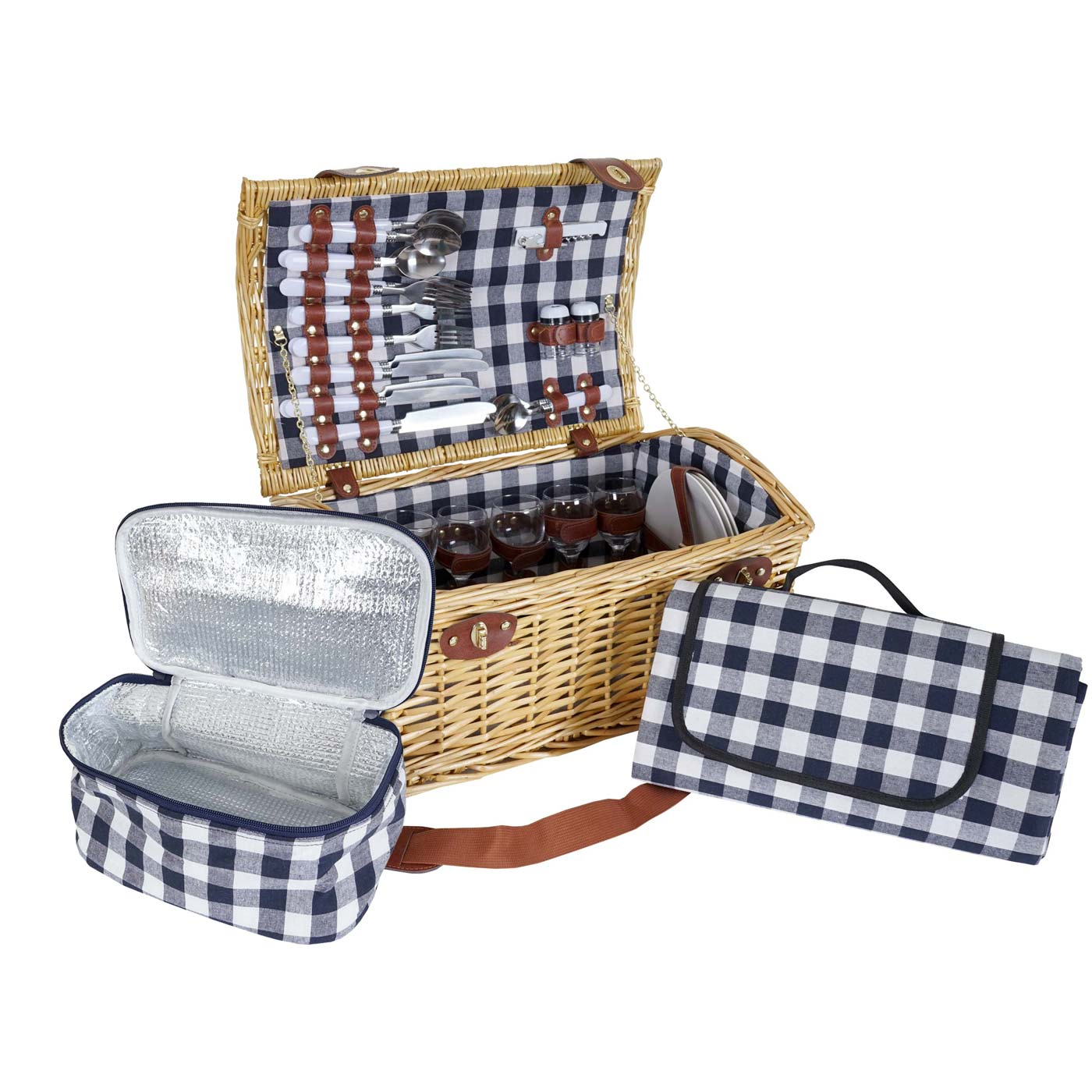Mendler Picknickkorb-Set HWC-B23 für 6 Personen, Weiden-Korb Picknickdecke, Porzellan Glas Edelstahl, blau-w 60139