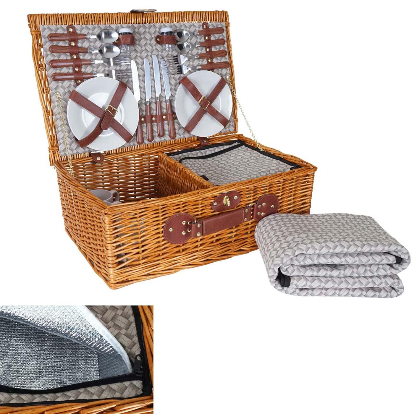 Mendler Picknickkorb-Set HWC-B25 für 4 Personen, Weiden-Korb + Kühlfach + Picknickdecke, Porzellan Edelstahl 60141