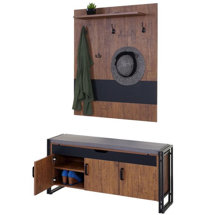 Garderobe mit Sitzbank HWC-A27, Garderobenpaneel Kommode, 53x110x30cm  3D-Struktur, Wildeiche-Optik