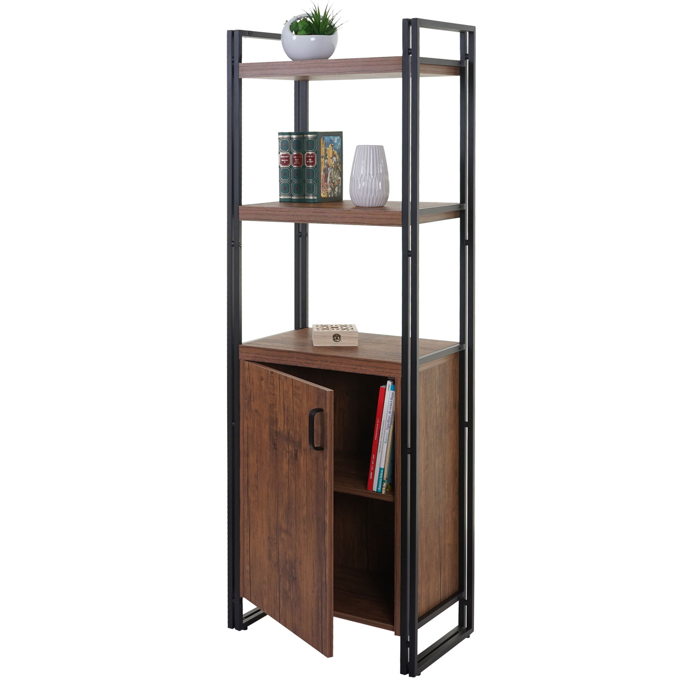 b cherregal hwc a27 regal standregal wohnregal staufach mit t r 165x55cm 3d struktur wildeiche. Black Bedroom Furniture Sets. Home Design Ideas