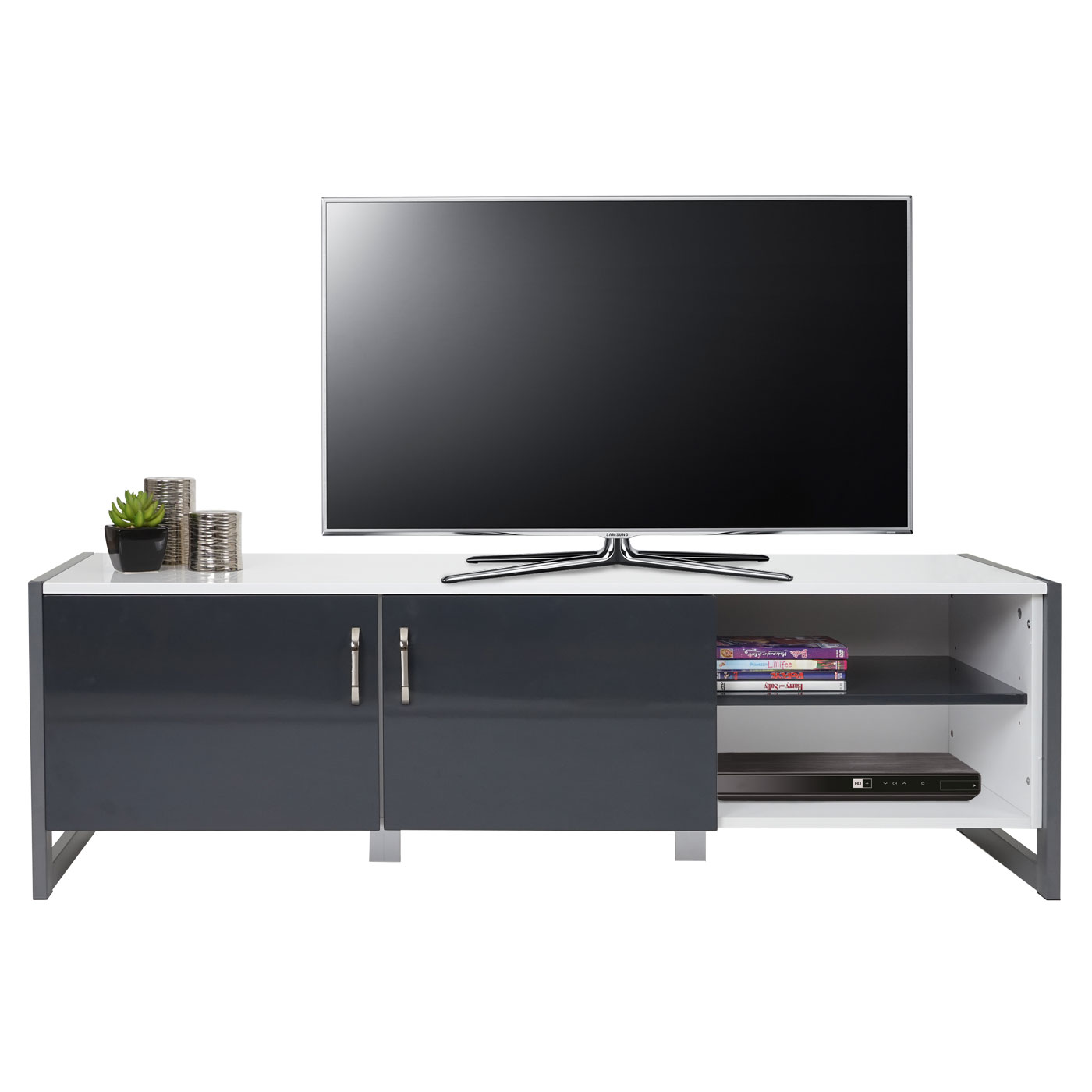 tv rack hwc b27 fernsehtisch lowboard hochglanz 140x45x40cm wei grau. Black Bedroom Furniture Sets. Home Design Ideas